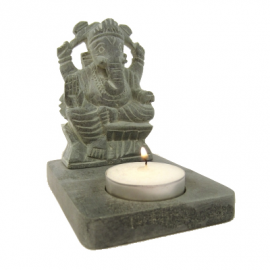 Portalumino in Pietra Ollare Grigia Ganesh