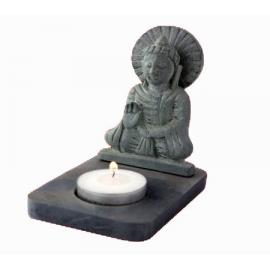 Portalumino in Pietra Ollare Nera Buddha