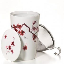 """Herb Tea Mug """"Cherry Blossom"""" Porcelain"""