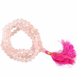 Mala 108 Perle Quarzo Rosa Qualità AA +Borsina