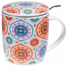 Tazza da tè con infusore e coperchio Mandala Blu