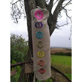 Porta Tappetino di Cotone Con Disegni dei Chakra Ricamati