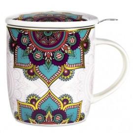 Tazza da tè con infusore e coperchio Mandala Turchese