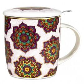 Tazza da tè con infusore e coperchio Mandala Rosso