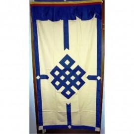 Tenda tibetana per porta blu/avorio