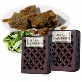Incenso in resina Basil/Amber in scatola di legno