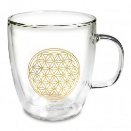 Bicchiere da tè doppia parete Fiore della vita