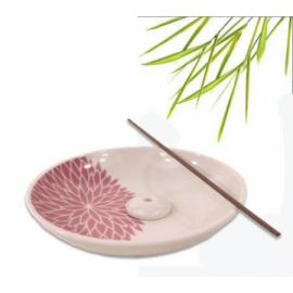 YUKARI Porta Incenso in Ceramica con Crisantemo