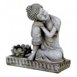 Buddha con portacandela color grigio