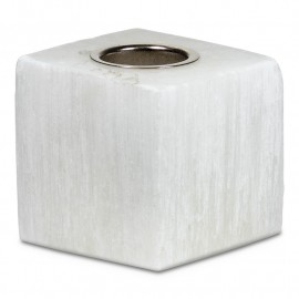 Portacandele a cubo in selenite