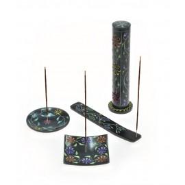 Serie Black : Piattello Quadrato : In pietra Colorata, Intarsiata e Dipinta a Mano